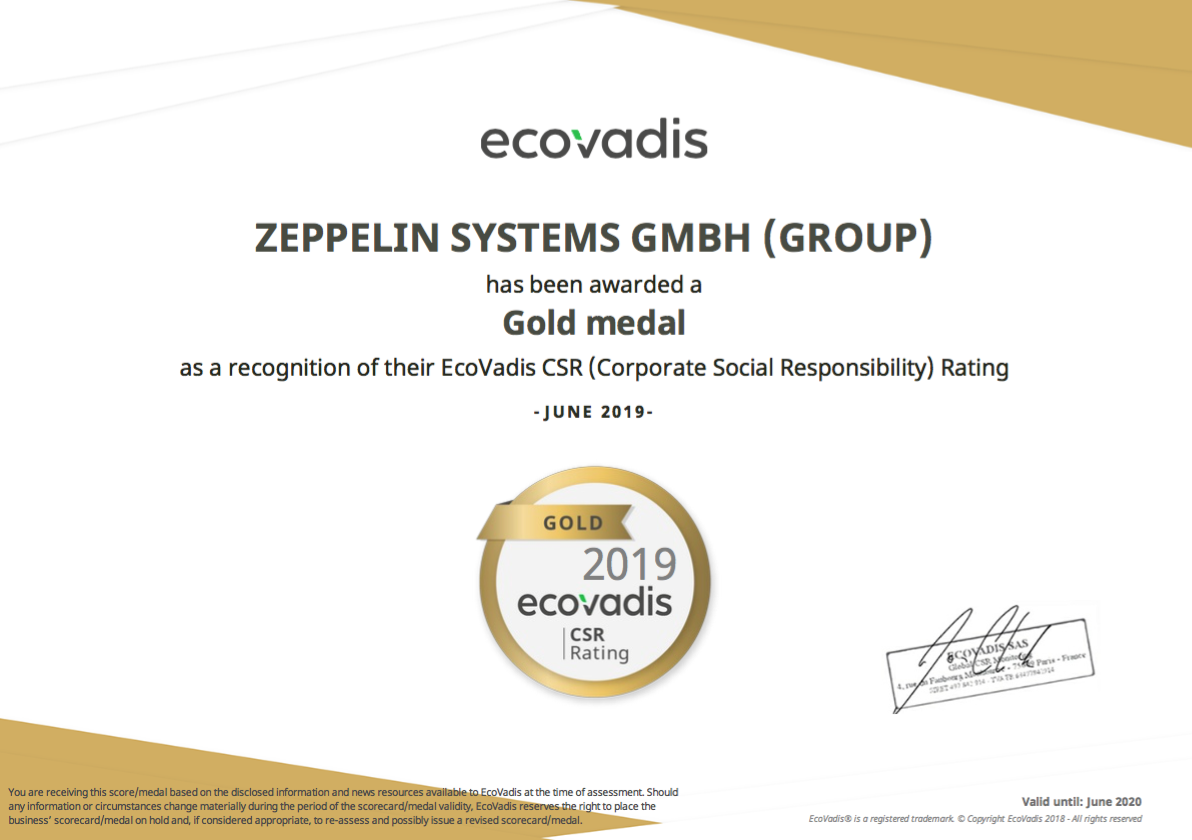 Ecovadis gold standard certificate